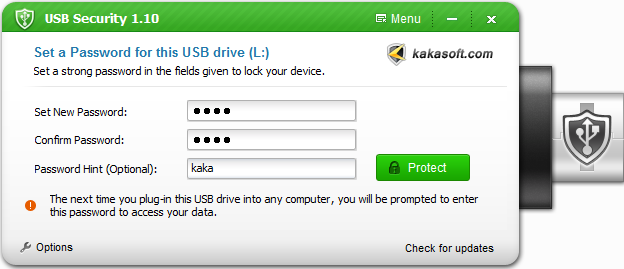 Kaka USB Security Screen shot