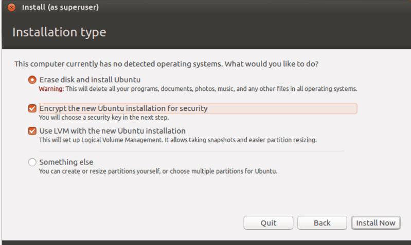 linux internal option to encrypt