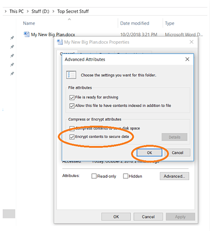 encrypt contents to secure data option