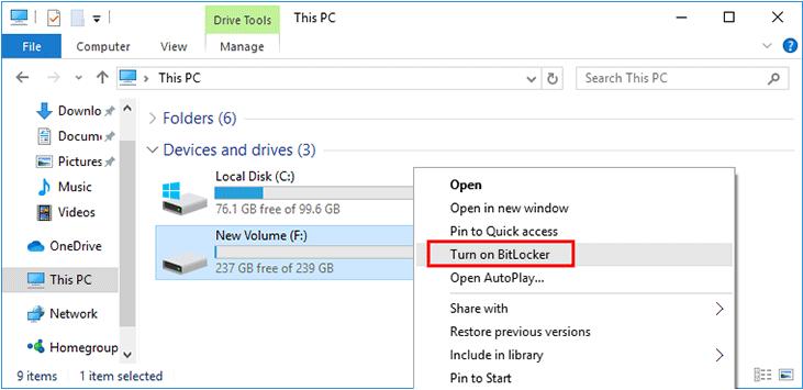 encrypt folder using bitlocker