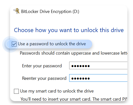 use a password to unlock the drive option