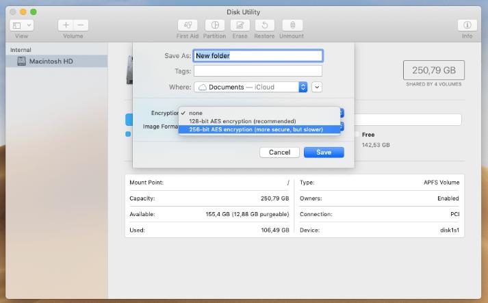 lock mac folder with disk utility