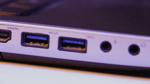usb connector on a laptop