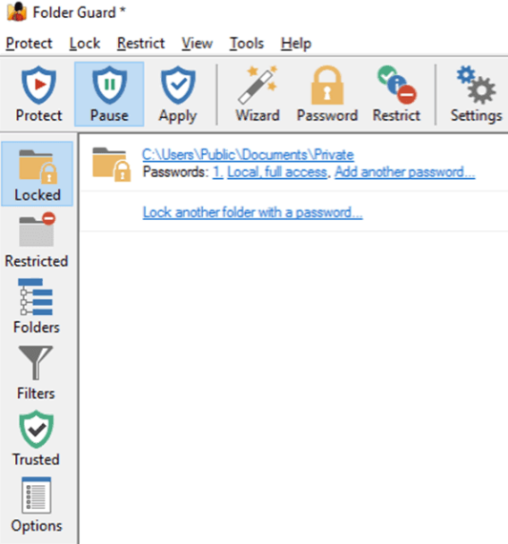 use Folder Guard to folder protection